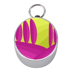 Yellow and pink landscape Mini Silver Compasses