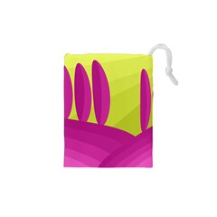 Yellow and pink landscape Drawstring Pouches (XS)