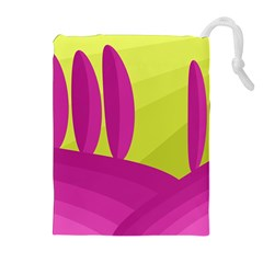Yellow and pink landscape Drawstring Pouches (Extra Large)