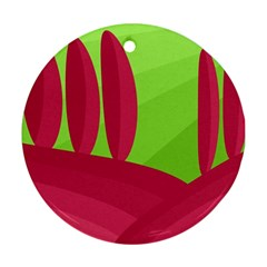 Green and red landscape Ornament (Round)