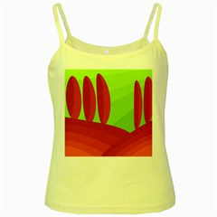 Green and red landscape Yellow Spaghetti Tank