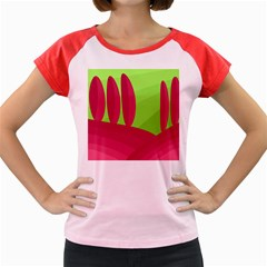 Green and red landscape Women s Cap Sleeve T-Shirt