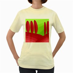 Green and red landscape Women s Yellow T-Shirt