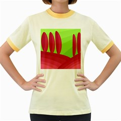 Green and red landscape Women s Fitted Ringer T-Shirts