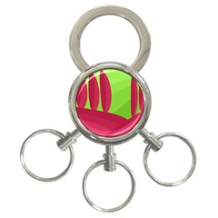 Green and red landscape 3-Ring Key Chains