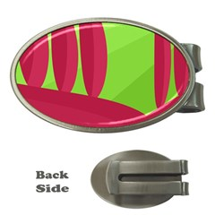 Green and red landscape Money Clips (Oval)