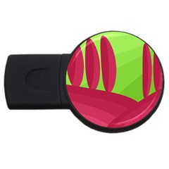 Green and red landscape USB Flash Drive Round (2 GB)
