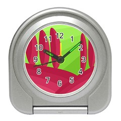 Green and red landscape Travel Alarm Clocks