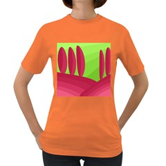 Green and red landscape Women s Dark T-Shirt
