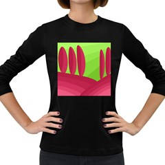 Green and red landscape Women s Long Sleeve Dark T-Shirts