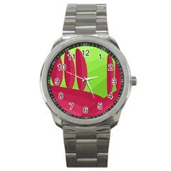 Green and red landscape Sport Metal Watch