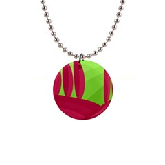 Green and red landscape Button Necklaces