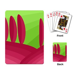 Green and red landscape Playing Card