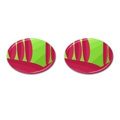 Green and red landscape Cufflinks (Oval)