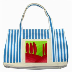 Green and red landscape Striped Blue Tote Bag