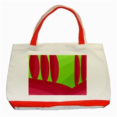 Green and red landscape Classic Tote Bag (Red)