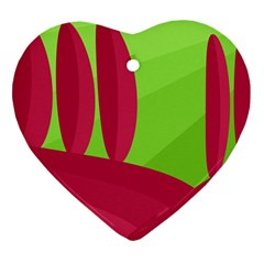 Green and red landscape Heart Ornament (2 Sides)
