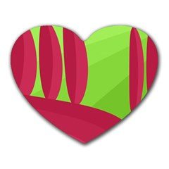 Green and red landscape Heart Mousepads