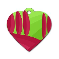 Green and red landscape Dog Tag Heart (One Side)