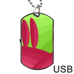 Green and red landscape Dog Tag USB Flash (Two Sides)