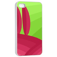 Green and red landscape Apple iPhone 4/4s Seamless Case (White)