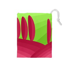 Green and red landscape Drawstring Pouches (Medium)