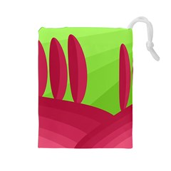 Green and red landscape Drawstring Pouches (Large)