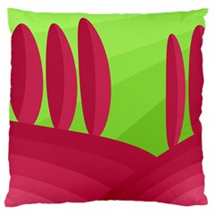 Green and red landscape Large Flano Cushion Case (One Side)
