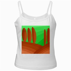 Green and orange landscape White Spaghetti Tank