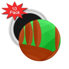 Green and orange landscape 2.25  Magnets (10 pack)