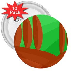 Green and orange landscape 3  Buttons (10 pack)