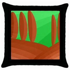 Green and orange landscape Throw Pillow Case (Black)