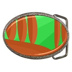 Green and orange landscape Belt Buckles