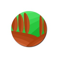 Green and orange landscape Rubber Coaster (Round)