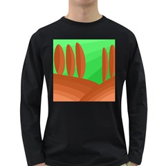 Green and orange landscape Long Sleeve Dark T-Shirts