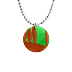 Green and orange landscape Button Necklaces