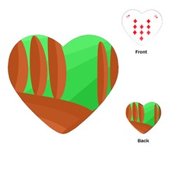 Green and orange landscape Playing Cards (Heart)