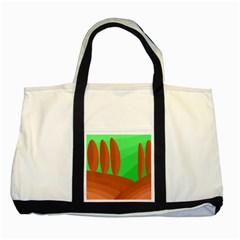 Green and orange landscape Two Tone Tote Bag