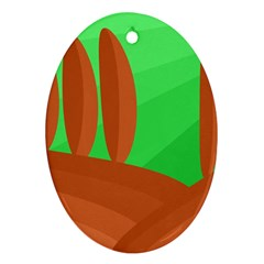 Green and orange landscape Oval Ornament (Two Sides)