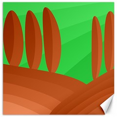 Green and orange landscape Canvas 16  x 16