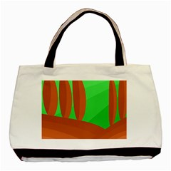 Green and orange landscape Basic Tote Bag (Two Sides)