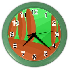Green and orange landscape Color Wall Clocks