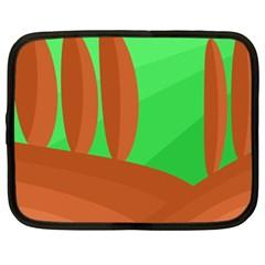 Green and orange landscape Netbook Case (Large)