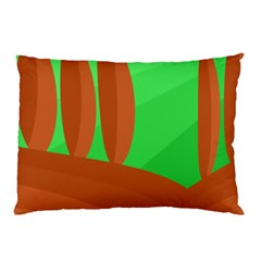 Green and orange landscape Pillow Case