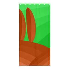 Green and orange landscape Shower Curtain 36  x 72  (Stall)