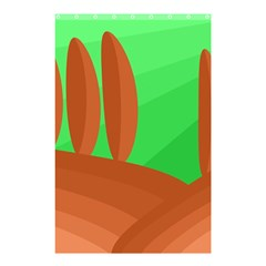 Green and orange landscape Shower Curtain 48  x 72  (Small)