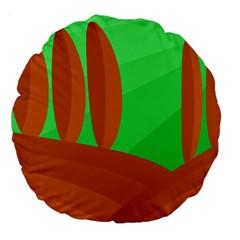 Green and orange landscape Large 18  Premium Round Cushions