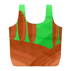 Green and orange landscape Full Print Recycle Bags (L)