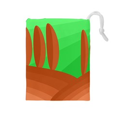 Green and orange landscape Drawstring Pouches (Large)