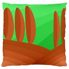 Green and orange landscape Large Flano Cushion Case (Two Sides)
